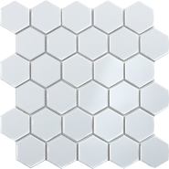 Hexagon Small white glossy